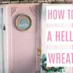 ideas for front door decor. Hello wreath. This DIY rainbow wreath is perfect for an entrance in summer or spring. I share the tutorial for this wood bead wreath. It's the perfect modern craft!