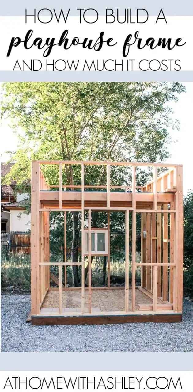 how to build a playhouse- the frame. Want plans for a kids wooden outdoor playhouse? I have an easy DIY and I answer the question- how much does it cost? This will be a two. story clubhouse. Plus ideas for saving on some of the materials.