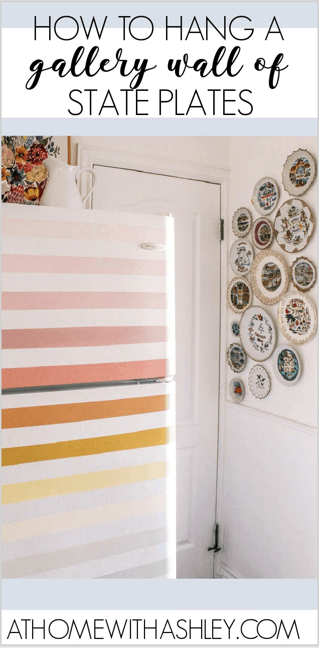 How to Hang State Souvenir Plates. Do you like collecting decorative tourist plates? I share how to hang decorative plates on the wall in a cute display. Plus some history on these kitchy treasures