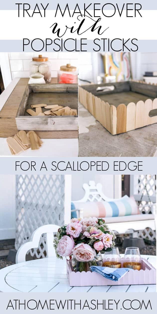 how tomake a DIY Popsicle Stick Scallop Tray. Makeover a thrift store wooden tray into a pink scalloped edge beautiful serving tray! his is a pretty easy project with few supplies that's budget friendly. Click to see the full tutorial.