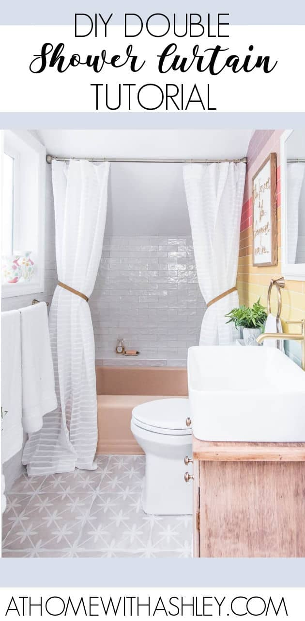 DIY Double Shower Curtain Tutorial. How to make a custom drapery look for a small bathroom- it's a luxurious look. Two shower curtains on one rod with step by step instructions