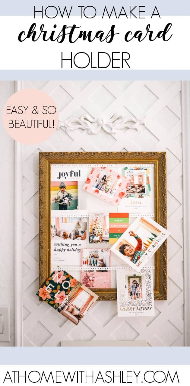 Christmas card holder. Getting happy holiday is the best! Here's a diy with a step by step tutorial for how to make this easy card holder. Ideas for how to make this with a thrifted frame.