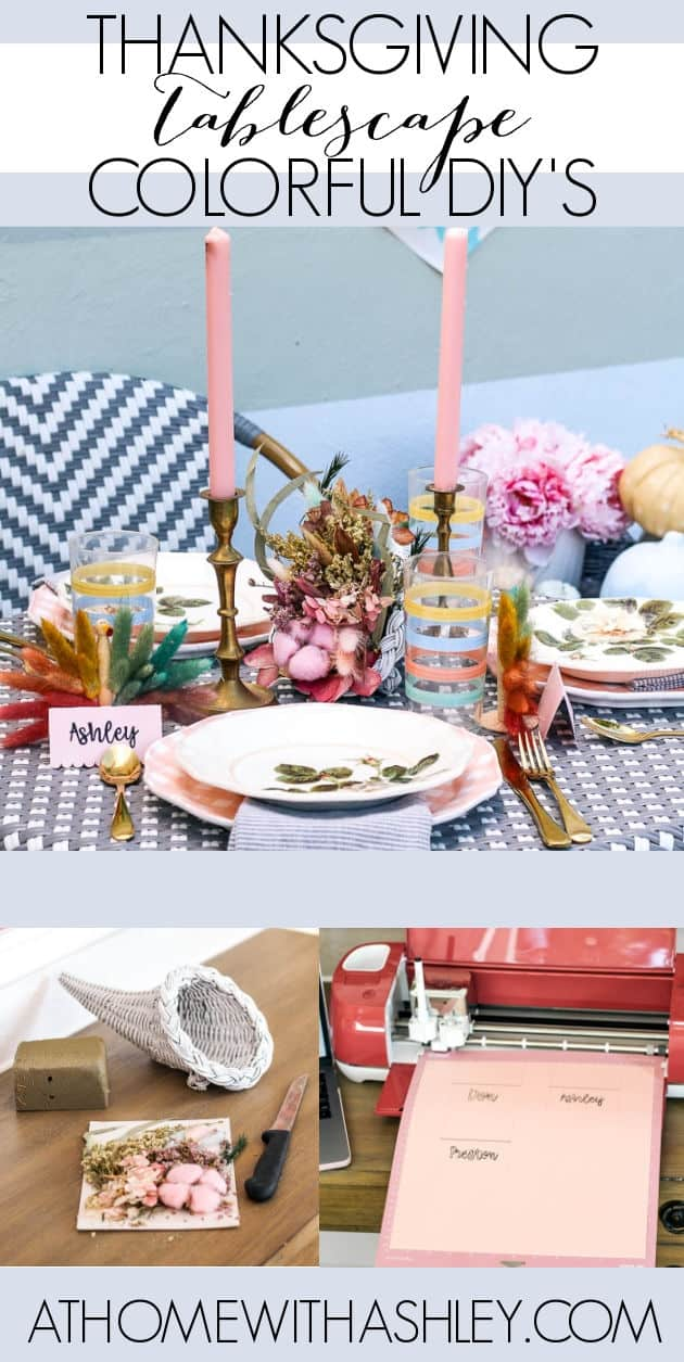 Thanksgiving tablescape DIY's. Decorations for table settings for turkey day. Ideas for crafts and decor on a budget. I'm sharing color place setting cards, and pastel thrifted treasures to make the day of gratitude even more special