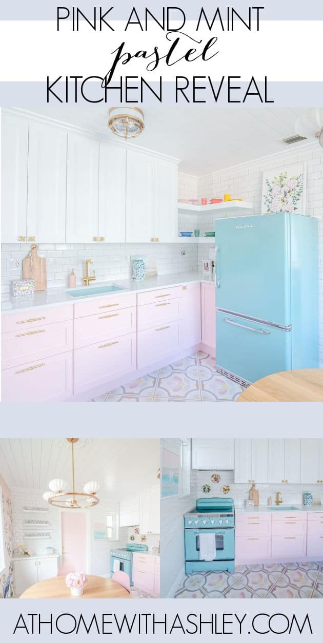 pink and mint kitchen reveal. Ideas for a small space interior remodel. With pink cabinets and colorfl decor. Before and after pictures. Renovation on a budget. A midcentury beach house with lots of color and pattern