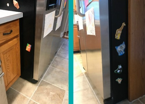 left side and right side of refrigerator with a few magnets