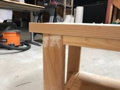 In-process raw wood bench