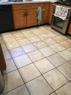 tile floor with dark brown grout