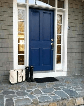 Blue front door inspiration picture on house with gray siding