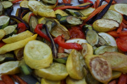 Slowly roast the vegetables for 1 - 1 1/2 hours.