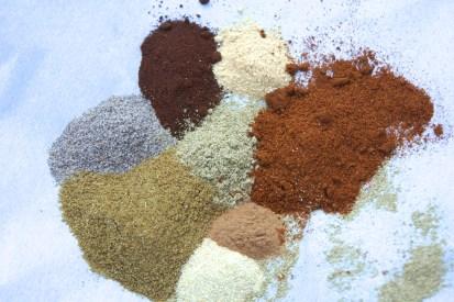 Mix together salt, pepper, cloves, cardamom, fennel, cumin, cinnamon, ginger, paprika.