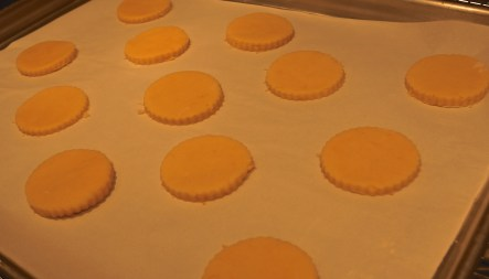 Using a lightly floured 2-inch round cookie cutter, cut out rounds and place about 1 inch apart on prepared sheet.