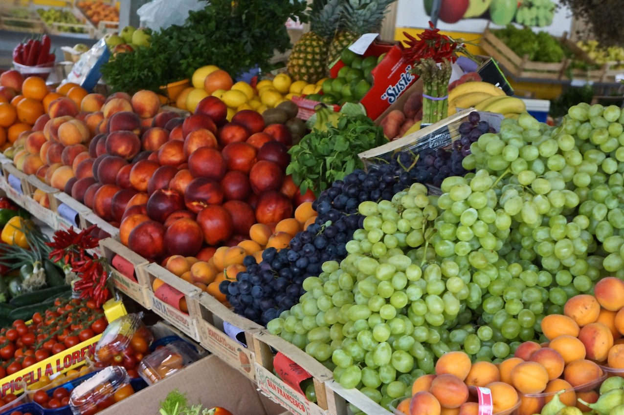 Just one of the hundreds fresh fruit stands at any local market in Croatia.