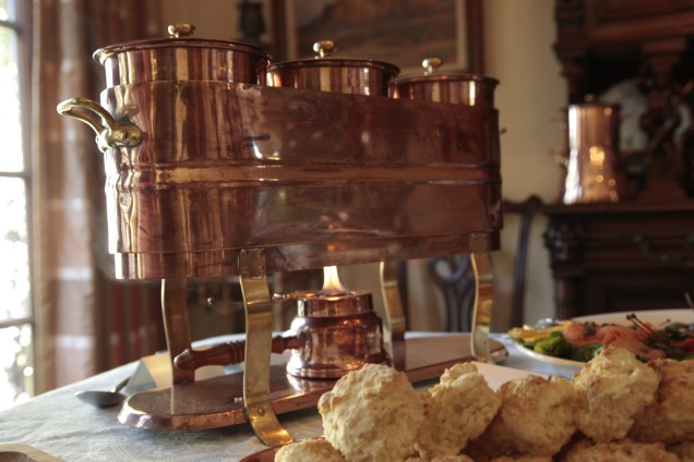 My collection of copper serveware made another appearance at this Brunch party.