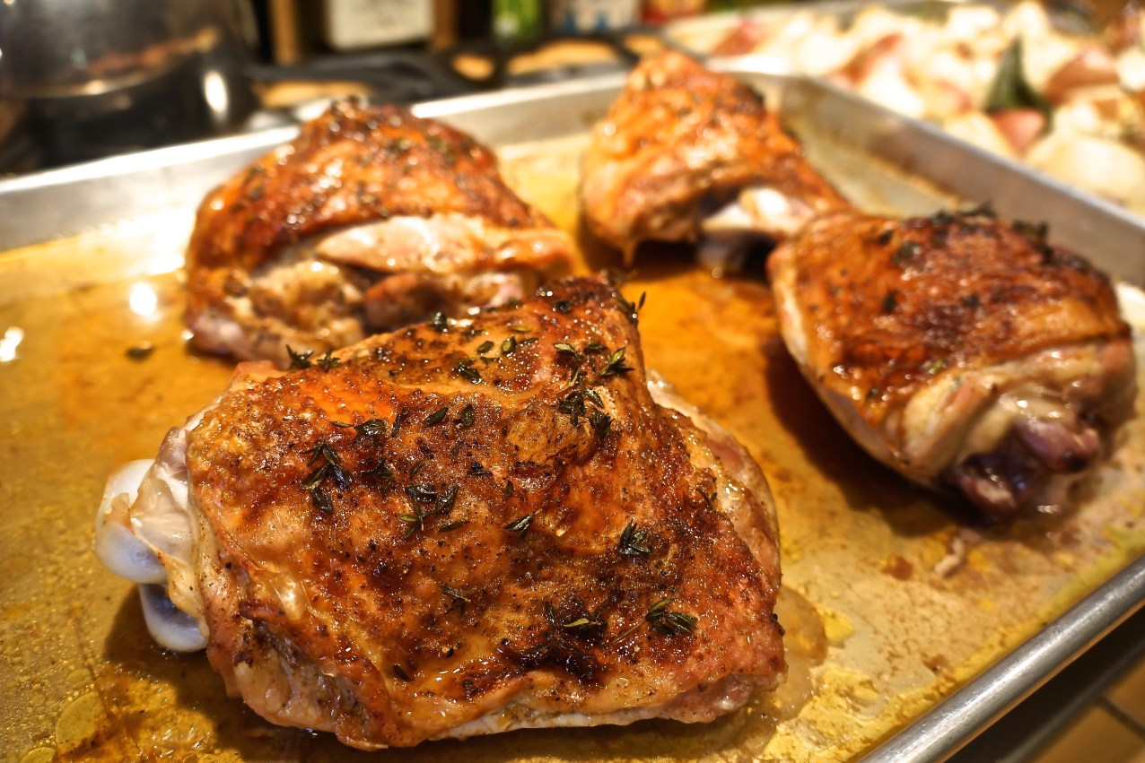 Roast the thighs until they reach an internal temperature of 160-165 degrees, approximately 35-45 minutes.