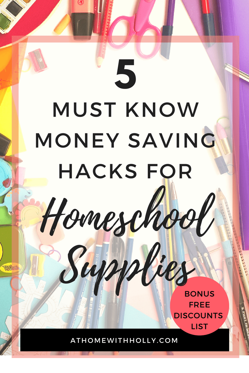 5 Must Know Hacks for Buying Homeschool Supplies. These money saving hacks for back to school shopping are great. I didn't even think about the last one and that is a GREAT idea! The organization ideas and the shopping tips are great, I am kind of looking forward to this year without feeling as overwhelmed as I thought I would my first year of homeschooling. Homeschool School Supplies, prepare to be organized!!