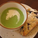 Green Pea Soup, Blueberry Scones and Mixed Green Salad with Fresh Peach Vinaigrette-Reunion Lunch with my BFF Kathie