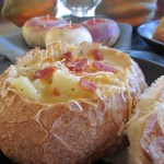 Potato Bacon Cheddar Soup in Sourdough Bread Bowls is a comforting and flavorful cheese soup recipe for fall!