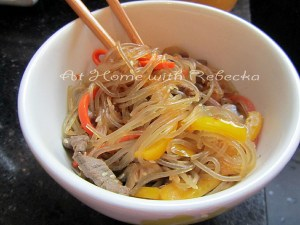 Japchae (Chapchae) – Korean Sweet Potato Noodles and Brussels Sprouts Kimchi