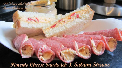 Pimento Cheese Sandwiches with Salami Straws