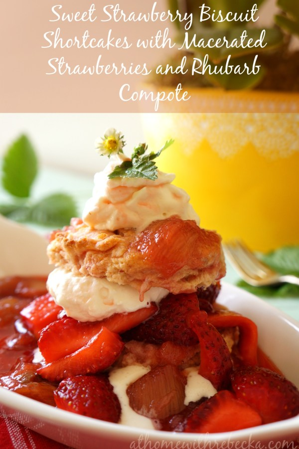 Sweet Strawberry Shortcake made with rhubarb compote for a sweet-tart flavor.