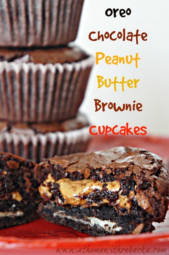 Brownie cupcakes, filled with peanut butter and chocolate Oreo cookies. A dessert recipe that is sure to satisfy your sweet tooth!