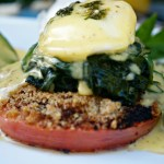 Eggs Benedict Florentine is an eggs Benedict recipe jazzed up with spinach and garlic. Topped with roasted garlic hollandaise sauce.