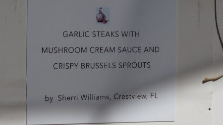 Garlic Steaks with Mushroom Cream sauce and Crispy Brussels Sprouts