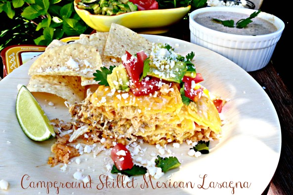 Campground Skillet Mexican Lasagna with Creamy Salsa is a delicious Mexican recipe, cooked in a campground skillet with a variety of Del Real food ingredients.