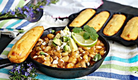 Southwestern Posole Stew with Jalapeño Cheddar Corn Sticks