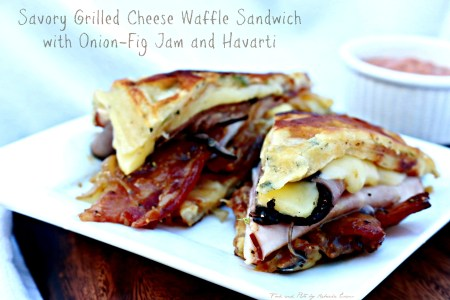 Grilled Cheese Waffle Sandwich with Onion-Fig Jam and Havarti