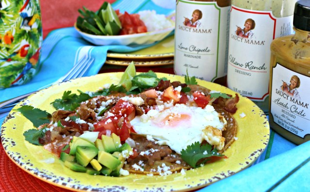 Saucy Mama inspired Huevous Rancheros Mexican breakfast