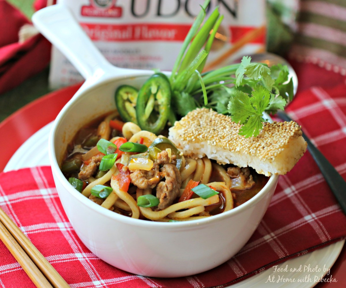 Pork and Peppers UDON Soup with Sesame Rice Sticks