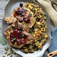 Grilled Pork Chops with Hot Cranberry Sauce and Sage Stuffing