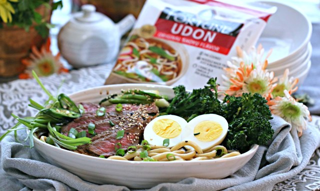 Shoyu Steak and Egg Udon with Ginger Chili Broccolini
