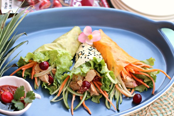 Cranberry Chicken Salad Soy Wrapper HandRolls