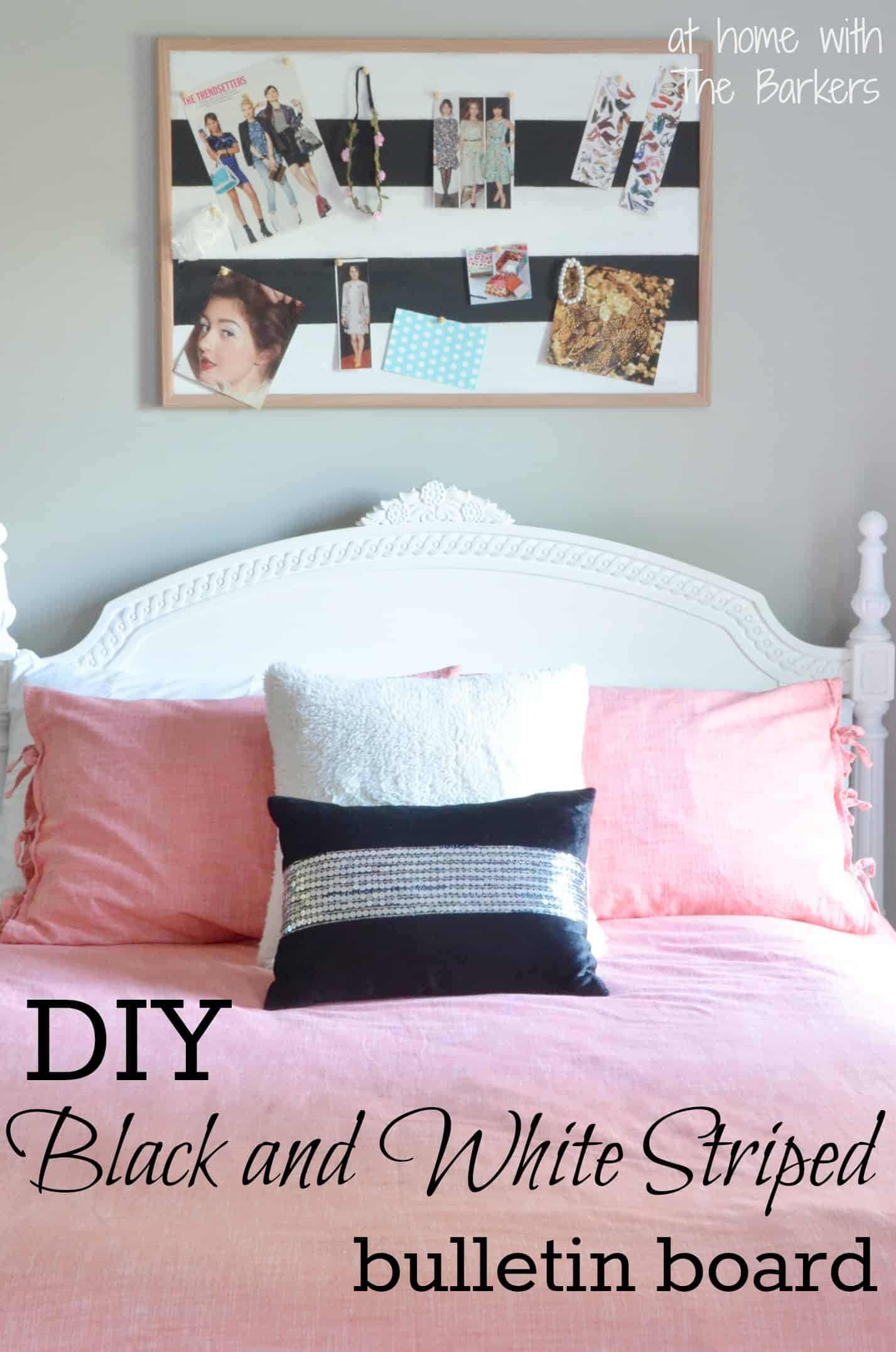 Black And White Striped Bulletin Board At Home With The