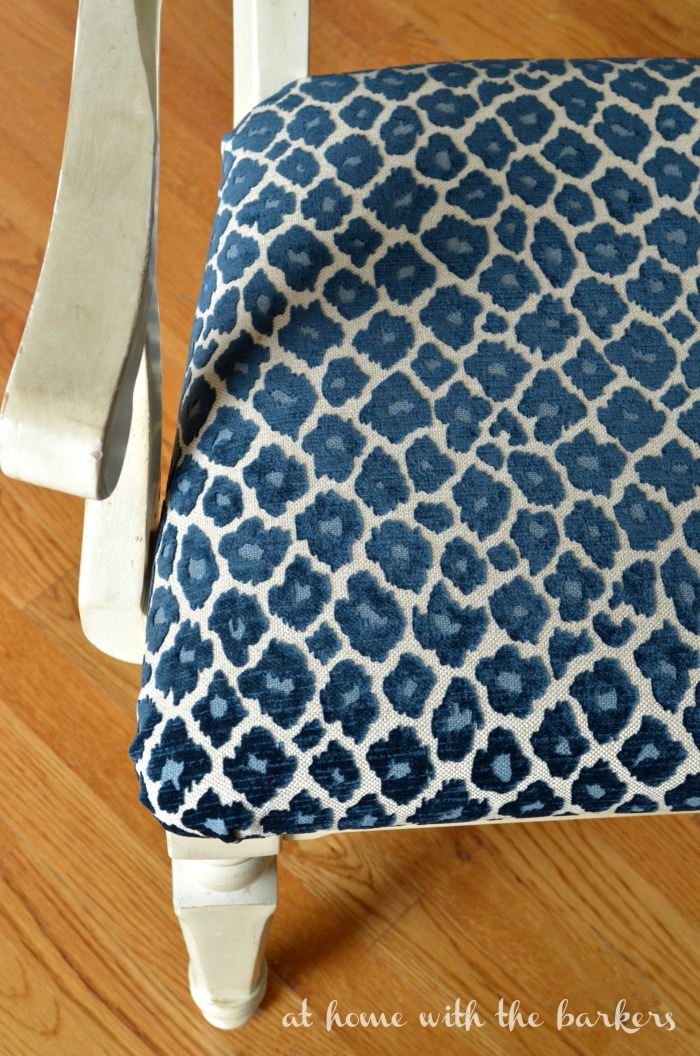 fabrics for kitchen chairs places to rent chair covers near me how recover at home with the barkers tutorial using simba fabric in navy