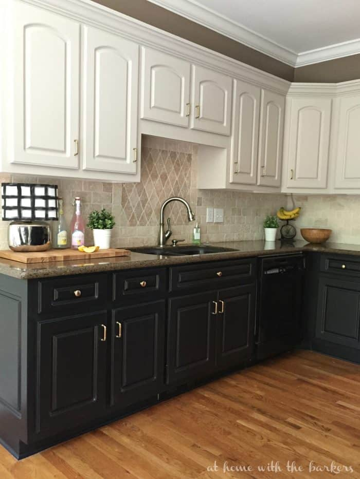Kitchen renovation with Hickory Hardware Cottage knobs and pulls in satin rose gold