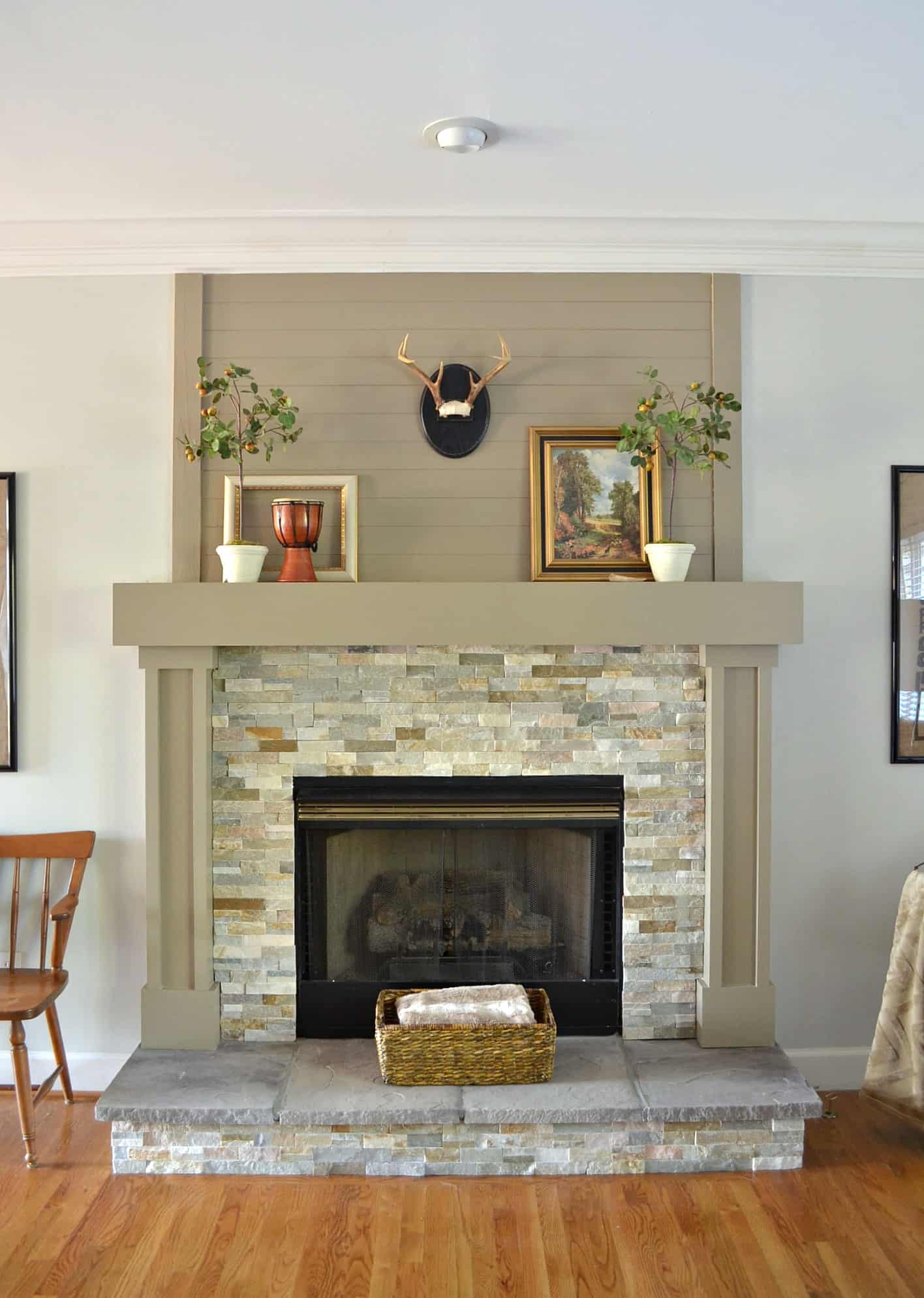 diy small living room makeover table wood plank mantel - at home with the barkers