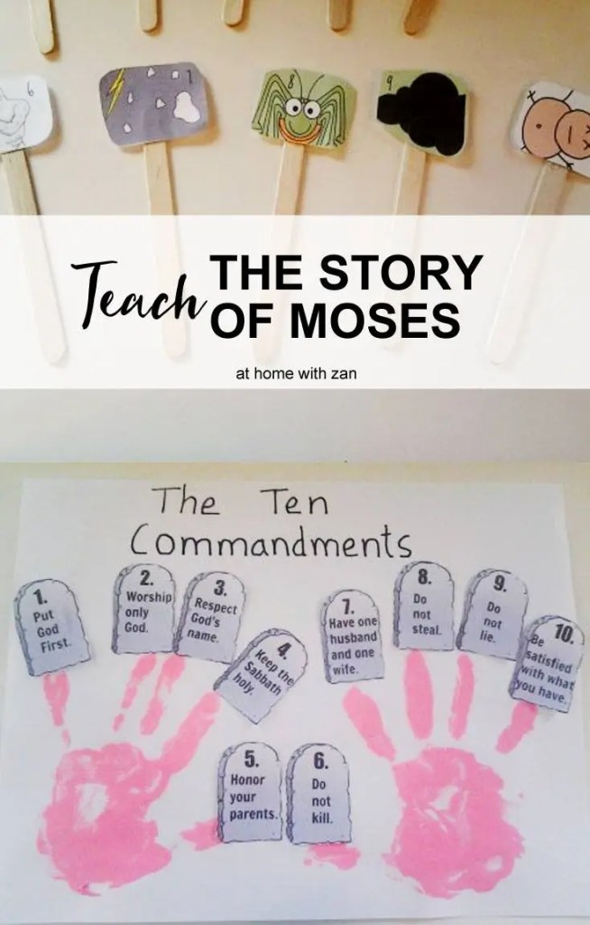 How to Teach the Story of Moses, Interactive Bible Story Lesson for Kids! by @athomewithzan