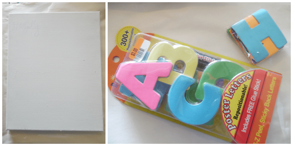 Blank canvas and letters