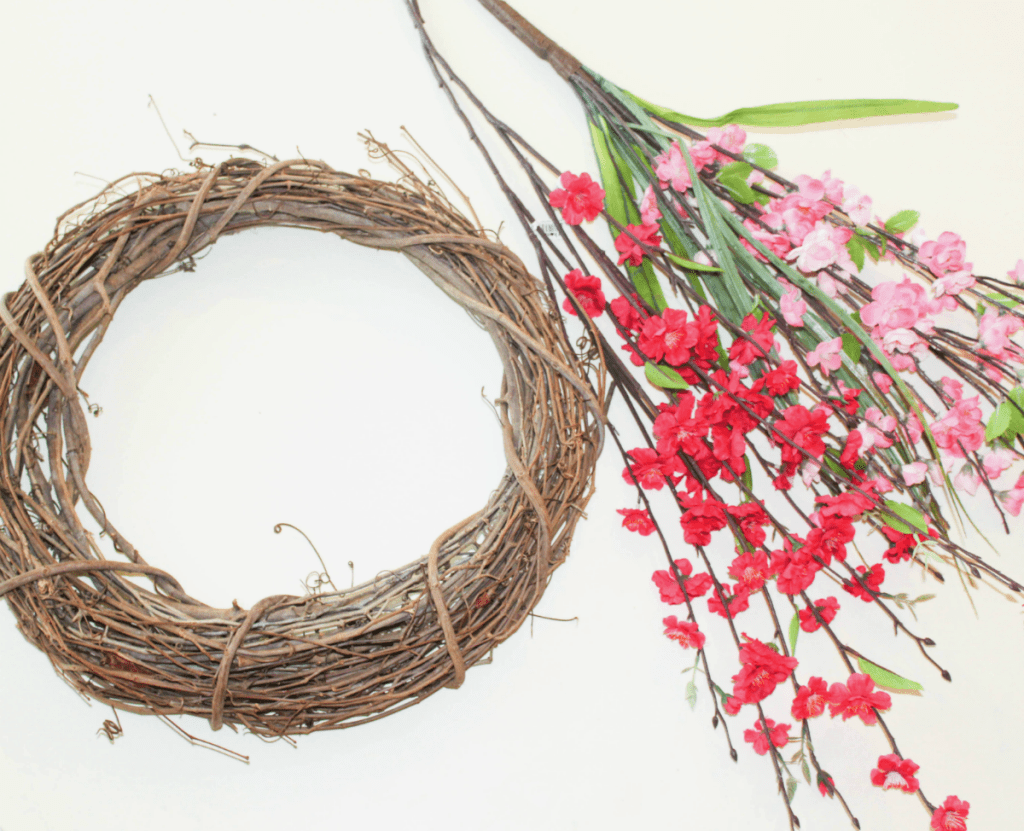 DIY Summer Wreath - Spring Wreath - Faux Flowers - Grapevine Wreath - At Home With Zan