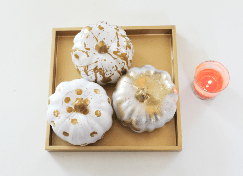 Painting Pumpkins - Gold and White - Painted Pumkpkins - At Home With Zan-