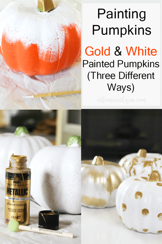 Painting Pumpkins - Gold and White Painted Pumpkins - At Home With Zan