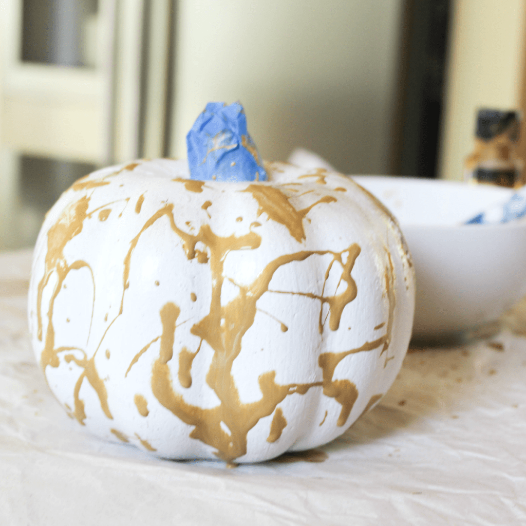 Painting Pumpkins - Splatter Paint- At Home With Zan-