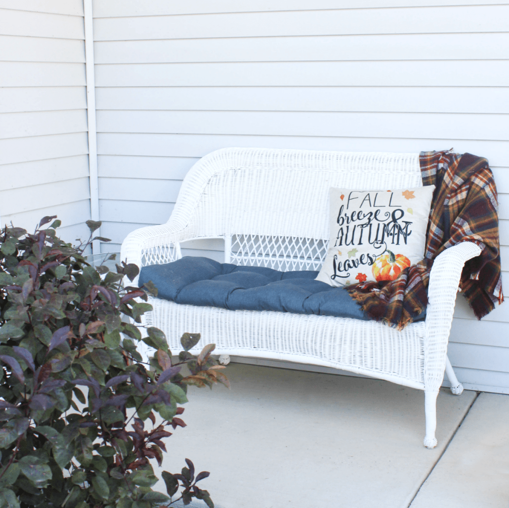 Fall Front Porch - Wicker Chair - Blanket - Pillow - At Home With Zan -