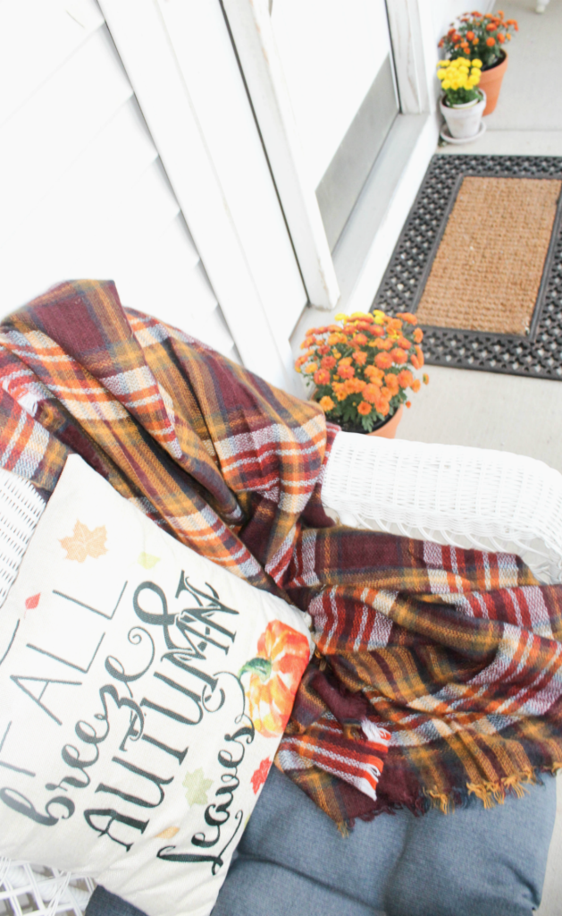 Fall Front Porch - Wicker Chair Decor - At Home With Zan