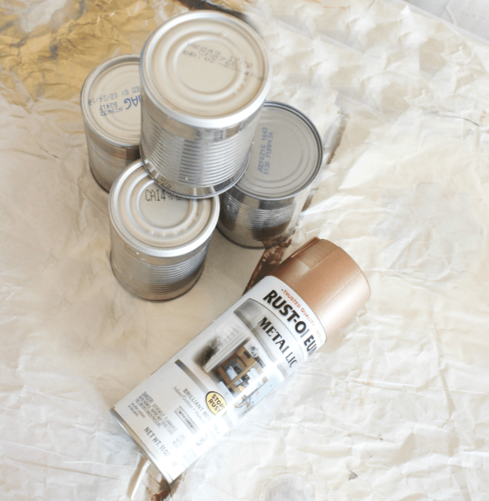 Tin Can Centerpiece - Painting Tin Cans - Rust-Oleum - At Home With Zan-