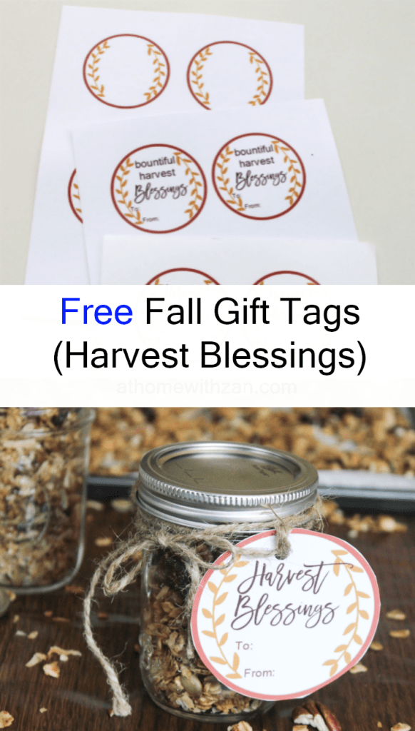 Free Fall Gift Tags - Autumn Gift Tags - Free -Pinterest Pin- Harvest Blessings - At Home With Zan