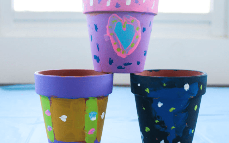 Colorful Kid-Painted Spring Flower Pots